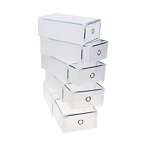 CDGroup 5pcs 31x20x11CM Cajas Almacenaje Caja Contenedor Plegable Plástico Cajón Organizador Transparente para Libros,Alimentos,Joyas,Juguetes,Ropa, Multifuncional para Hogar y Oficina