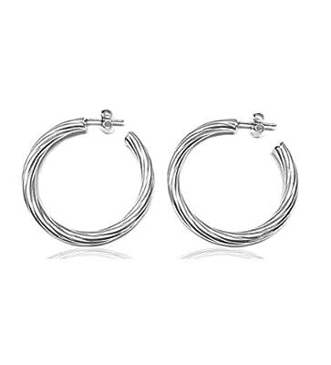 Linea Italia bijoux - cercles en argent 925% - Boucles d'oreilles femmes diamètre mm 37 - Made in Italy