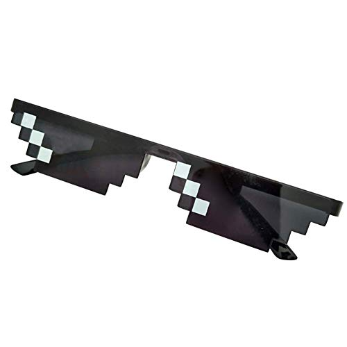 MonLook Herren Damen MLG Verpixelte Sonnenbrille Thug Life Party Brille Mosaik Vintage Eye Wear - Schwarz, small Single