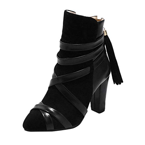 MOIKA Damen Stiefeletten Frauen Quaste Schuhe Volltonfarbe Peeling High Heel Rutschfeste Spitz Martin Stiefel(230/36,Schwarz