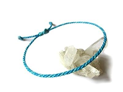 Bracelet corde/fil Bleu Deux Tons (Azur et Turquoise). Porte chance/Brésilien/Simple. Fait avec du fil ciré et ajustable. Réf.#Bi1