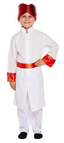 Jungen Bollywood Schauspieler Indian Tänzer International Kostüm Kleid Outfit 4-12 Jahre - Weiß, Weiß, 7-9 Years (Kinder Kleid Indian)