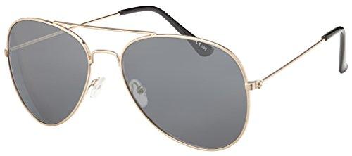 Original La Optica Unisex Piloten Sonnenbrille im Aviator Stil mit UV400 Schutz - Verschiedene Farben und Sets (Gold (Gläser: Grau))