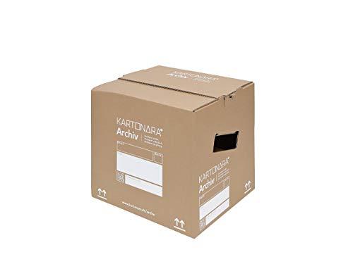 10 Stück Archivboxen KARTONARA Archiv - Archivkartons für Aktenordner A4 | 32 Liter Füllvolumen