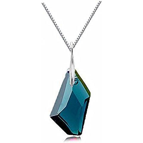GoSparking Montana cristal de plata esterlina colgante, collar con el cristal austríaco para las mujeres
