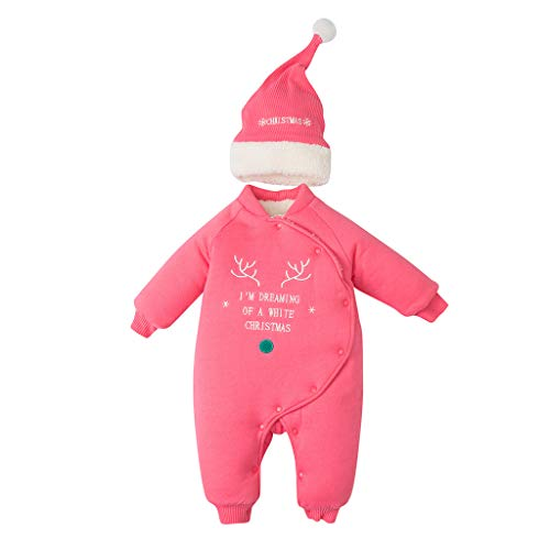 Livoral Baby Winter Jacke einteiliges Baby Mädchen Winter Weihnachten Jacke Kind Dicke Schneemantel Jacke Mantel Overall Anzug(Rosa,0-6 Monate)