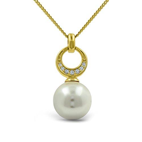 Premium ciondolo collana con swarovski bianco perla in oro giallo 18k su argento sterling 925regalo per donne e ragazze, regalo di compleanno natale anniversario della mamma