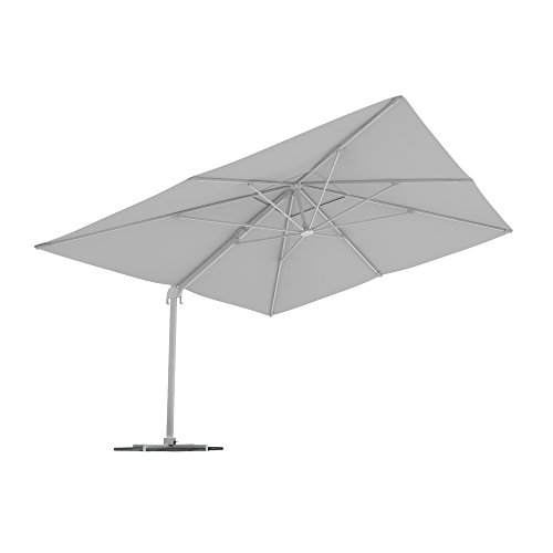 PARAMONDO Parapenda parasol à mât excentré| Parasol déporté pour jardin| 4x3m (rectangulaire/blanc)/compris l'armature et le pied forant(anthracite)