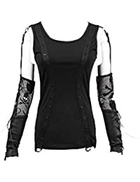 f2a39170abac2d Punk Rave Steampunk Frauen Sommer Sexy Schulterfrei T-Shirt Gothic Hohl  Rundkragen Casual Bluse Tops