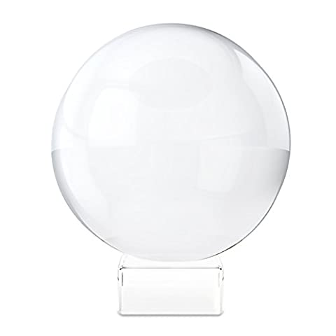 Belle Vous 80mm Boule de cristal avec soutien - Meditation, Photographie Boule, Boule de decoration - K9 Cristal - Boule en verre claire - Verre Optique Transparent, Boule Decorative de Cristal