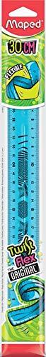 Maped Twist'n Flex - Righello piatto flessibile, divertente e infrangibile, 30 cm, doppia graduazione, colore: Blu