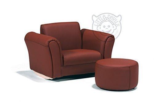 LazyBones - Schokoladenbraun PU Leder Schaukelstuhl Sessel für Kinder Mit kostenlosem Fußschemel (Echtes Leder)