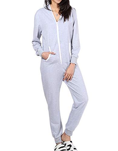 Dreamlove Jumpsuit Damen Onesie Overall Einteiler mit Bündchen an Arm- und Beinabschluss Grau M - Armee Onesies