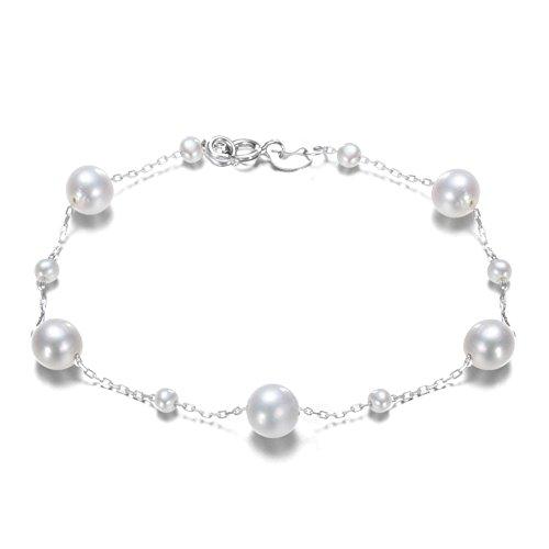 Minely Jewels Perlenarmband aus 11 hochwertigen runden Süßwasserperlen in AA Plus weiß in 925 Sterling Silber 18 cm