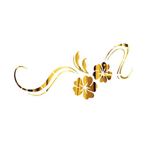Vosarea Spiegel Blume Reben Wandaufkleber Kunst Wandbilder Wandtattoos für Zuhause Schlafzimmer Wohnzimmer Badezimmer Dekoration (Golden)