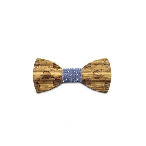 STADTHOLZ Holzfliege Prague aus Zebrano mit Blau/weißem Stoff Handgefertigt Trendartikel Mascherl Schleife Querbinder