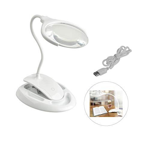 MAGF LED Lupenleuchte mit licht Lampe,beleuchtet Tisch 3X / 8X Tischlupe mit Gummischlauch Doppelscheibe 360   ° verstellbar Abnehmbare Basis Weiße Lupe for ältere Kinder, die Schmuck lesen -