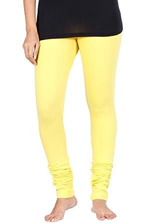 KeKe Yellow Cotton Lycra leggings for Women