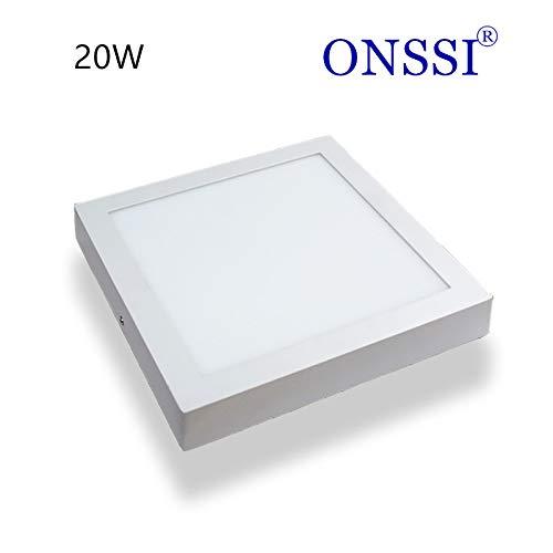 Plafón de Techo LED Cuadrado 22x22 cm, 20W Blanco Frio 6000k-6500k Superficie...