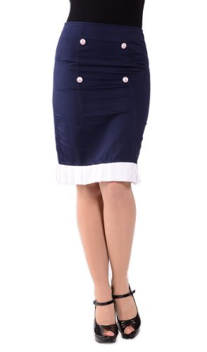Küstenluder KARLA 50s SAILOR Anchor PENCIL SKIRT / Bleistift Rock Rockabilly Blau / Weiß
