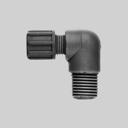 Thomafluid Winkel-Verbinder mit Außengewinde aus PP/PVDF - kurz, Schlauch Innen-Ø: 8 mm, Schlauch Außen-Ø: 10 mm, Außengewinde: NPT 3/8