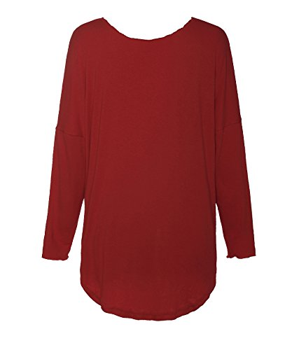 ReliBeauty Damen Tie Up Langarmshirt Raglan Ärmel Boot Ausschnitt Oberteil High Low Top Einfarbig T-Shirt Tunika Rot