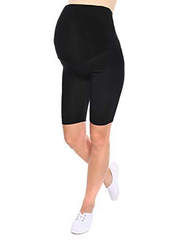 MijaCulture Komfortable Kurze Umstandsleggings für Schwangere Shorts 1/2 Leggings Mama 1052 (M/L, Schwarz)