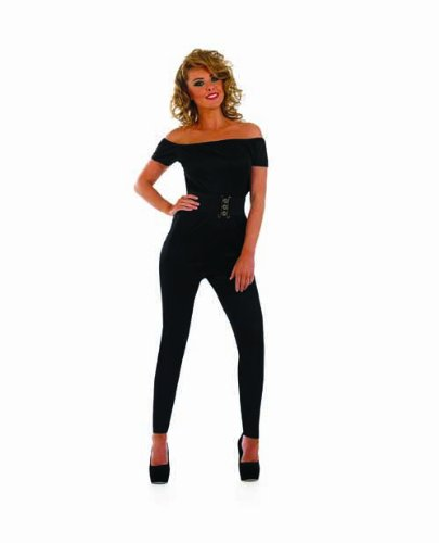 ADULT LADIES GREASE SANDY HIGH SCHOOL SWEETHEART BLACK DRESS UP COSTUME - SIZE LARGE (Sandy Grease Kostüm)