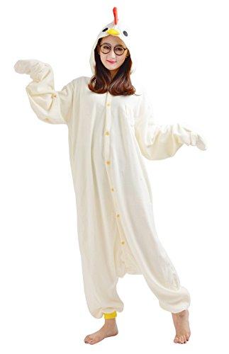 Huhn Jumpsuit Kostüm Erwachsene Tier Pyjamas Fasching Onesie Damen Herren Karneval Cosplay Nachtwäsche