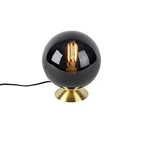 QAZQA Art Deco Lampe de Table/Lampe á poser/Luminaire/Lumiere/Éclairage Art deco laiton avec abat-jour en verre noir - Pallon/Métal Laiton,Noir Rond/intérieur/Salon