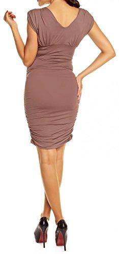 Happy Mama Femme maternité robe de grossesse près du corps sans manches 525p Cappuccino