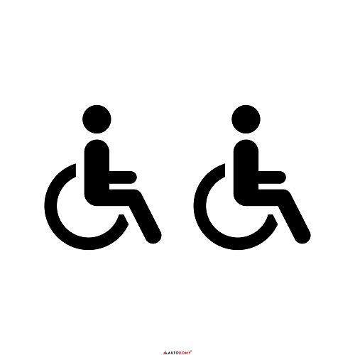 Autodomy Behindert Rollstuhlfahrer Aufkleber Paket 2 Stück für Auto Van LKW (Schwarz)
