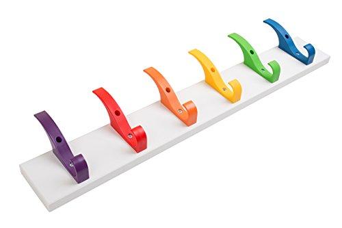 Toughook XL Rainbow incassable Heavy Duty 6Crochet Coat Rail sur support mural Blanc stratifié pour les écoles, à la maison et de travail