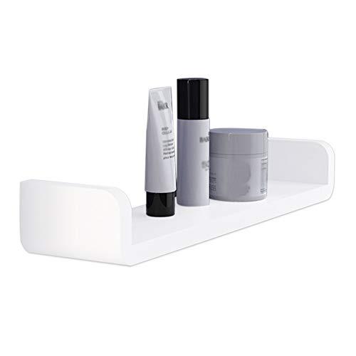 KUNGYO Weiß Kunststoff Wandmontiertes Badezimmer Wandregal - Saug Rustikale U-Förmige Schwebende Regal Badezimmer Organisator Dusche Caddie (Groß)