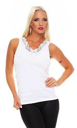 Hochwertiges Damen Träger-Top mit großer Spitze Nr. 416 (Oberteil / Unterhemd / Träger-Shirt) 100% Baumwolle Weiß