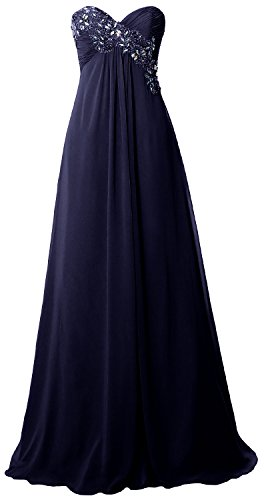 MACloth Women Strapless Empire Long Prom Dress Chiffon Formal Party Evening Gown Dark Navy