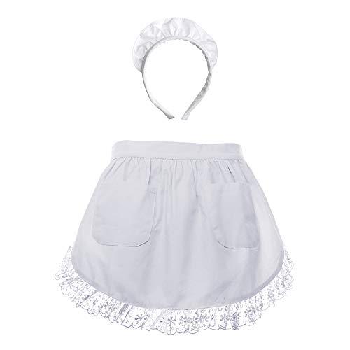 Für Kostüm Tasche Kleinkind Geld - Taille Schürze Spitzen Baumwolle Küche halbe Schürze mit Stirnband für Kleinkinder mit Zwei Taschen Magd Kostüm