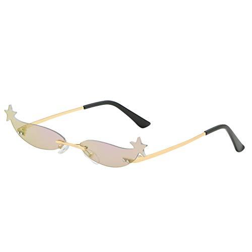 Lazzboy Mode Mann Frauen Unregelmäßige Form Sonnenbrille Brille Vintage Retro Style Herren Polarisierte Mit Metallrahmen Und Kohlefaser Beine(B)