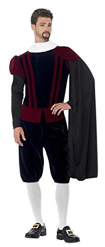 Kostüm Für Erwachsene Tudor - Smiffy's 43418M - Tudor Herr Deluxe Kostüm Top-Hose Cape und Ausschnitt mit Rüschen