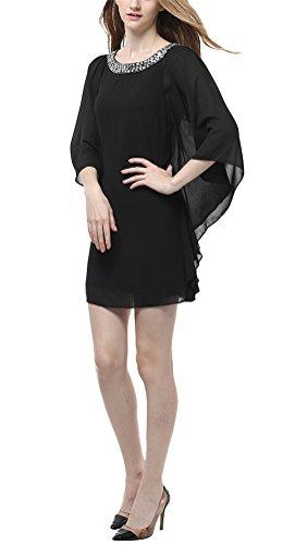 MILEEO Damen Chiffon Kleid Kurz mit Strassverzierung Fledermausärmel Cocktailkleid Elegant Schwarz Lila Gr.36-42 Schwarz