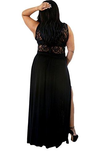 La Vogue Femme Dentelle Décolleté Longue Grande Taille Floral Haut Mariage Noir