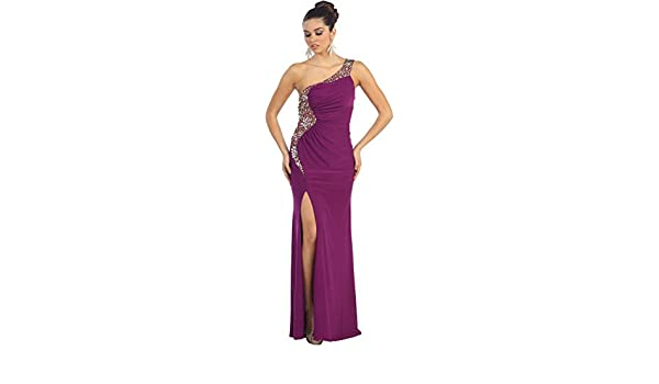 May Queen MQ1012 One Shoulder Sexy Stretchy Dress - Purple -: Amazon.co.uk: Clothing