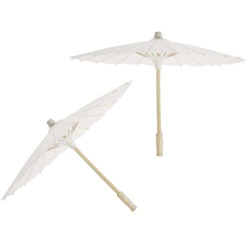 Toyvian 2 Piezas Paraguas Papel Blanco clásico Prueba