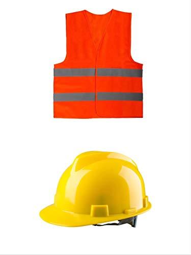 thematys Bauarbeiter Helm und Warnweste Kostüm-Set für Erwachsene - perfekt für Fasching & Karneval - - Bauarbeiter Kostüm Für Erwachsene
