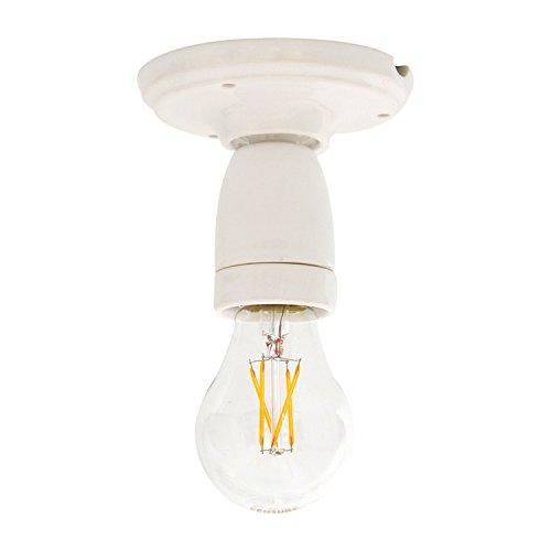 Lampenfassung mit Halterung für Decke oder Wand aus Porzellan