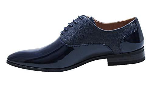 Scarpe uomo class blu scuro vernice linea classica eleganti cerimonia (43, blu)
