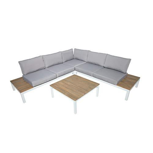 Riess Ambiente Garten Sitzgruppe Miami Lounge XL weiß grau Gartenmöbel inkl. Tisch Bank und Kissen Loungemöbel Outdoor Wetterfest