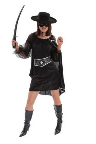 Kostüm für Junggesellinnenabschied oder Halloween, mit dem Motiv: Sexy Bandit, Superheldin, Bösewicht