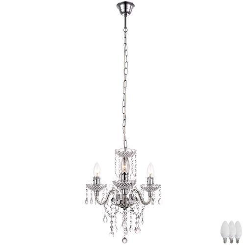 Burg 3 Licht Kronleuchter (Kron Leuchter Kristall Decken Luster Wohn Zimmer Chrom Hänge Lampe im Set inkl. LED Leuchtmittel)