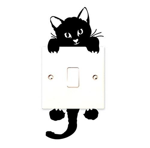 RETUROM Nuevo gato pegatinas de pared interruptor de la luz de la decoración mural de las etiquetas del arte del cuarto de niños del sitio del bebé